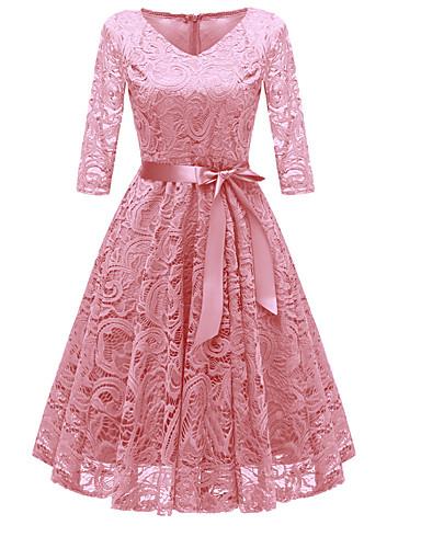 preiswerte Vintage Ladies-Damen Party Ausgehen Retro 50er A-Linie Kleid - Spitze Schleife Knielang V-Ausschnitt Staubige Rose