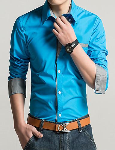 levne Pánské košile-Pánské - Jednobarevné Práce Košile Fialová / Dlouhý rukáv