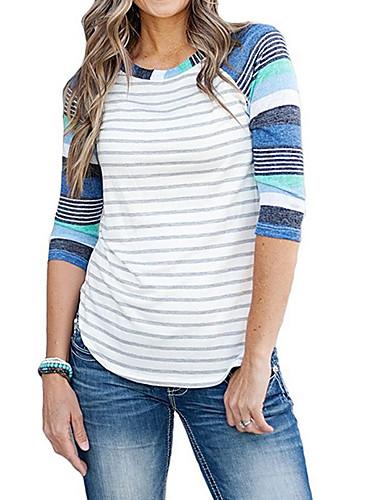 billige Dametopper-T-skjorte Dame - Stripet Blå / fin Stripe