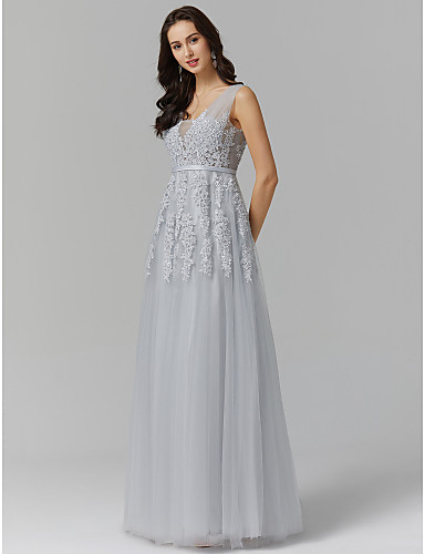 aa54ee9b3 Jenny Packham Style A-Line V Neck Sweep   Brush Train Tulle Over ...