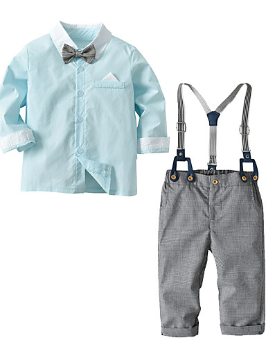 preiswerte Kinder Mode Kollektion Ausverkauf-Baby Jungen Grundlegend / Chinoiserie Solide Langarm Lang Lang Kleidungs Set Leicht Blau