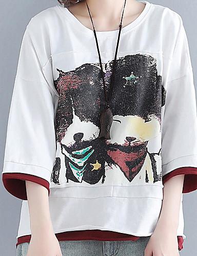 billige Dametopper-Store størrelser T-skjorte Dame - Geometrisk Hvit