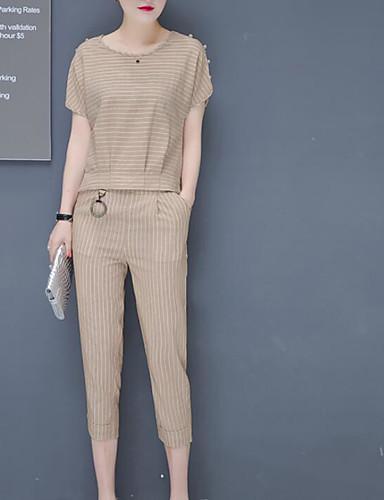 billige Todelt dress til damer-Dame Sett Bukse Stripet