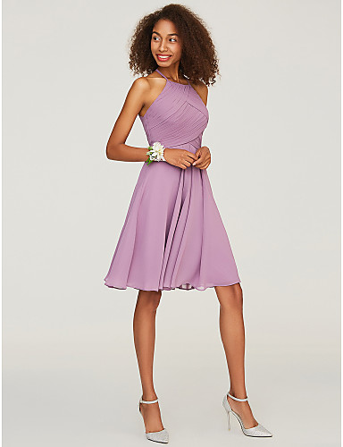 cheap Bridesmaid Dresses-A-Line Halter Neck Knee Length Chiffon Bridesmaid Dress with Ruffles