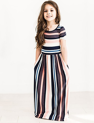 dc222f0f5c85 Kids Girls  Sweet   Cute Black   Red   Black   White Striped Short Sleeve  Dress 6815102 2019 –  12.96
