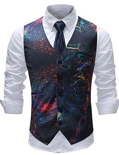 cheap Men's Outerwear-Men's Plus Size Vest, Geometric / Color Block / Plaid V Neck Cotton / Acrylic / Polyester Rainbow