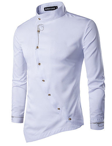 cheap Men's Clothing-Men's Solid Colored Shirt Daily White / Black / Gray / Long Sleeve