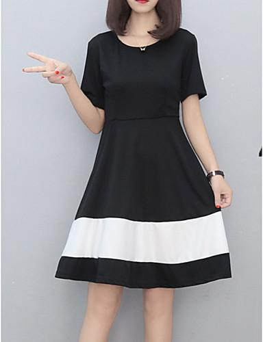 voordelige Grote maten jurken-Dames Standaard Katoen Slank A-lijn Jurk - Kleurenblok, Print Tot de knie Zwart & Wit