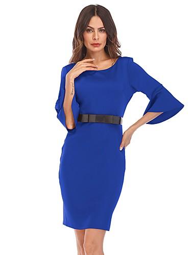 levne Pracovní šaty-Dámské Jdeme ven Flare rukáv Pouzdro Šaty - Jednobarevné Nad kolena Modrá