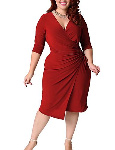 levne Šaty velkých velikostí-Dámské Základní Štíhlý Pouzdro Šaty - Jednobarevné, Wrap Délka ke kolenům Hluboké V