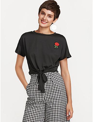 billige Dametopper-T-skjorte Dame - Ensfarget Ut på byen Rosa / Snøring / fin Stripe