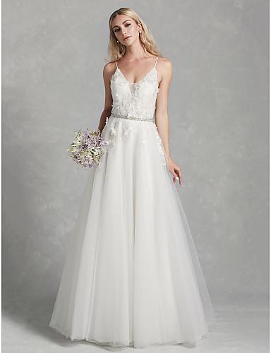 41d376429e8 Γραμμή Α Λεπτές Τιράντες Μακρύ Δαντέλα / Τούλι Φορέματα γάμου ...