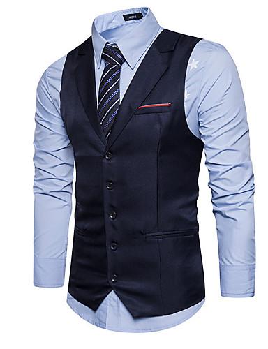 preiswerte Herrenmode-Herrn Arbeit Standard Weste, Solide V-Ausschnitt Ärmellos Polyester Schwarz / Marineblau / Khaki
