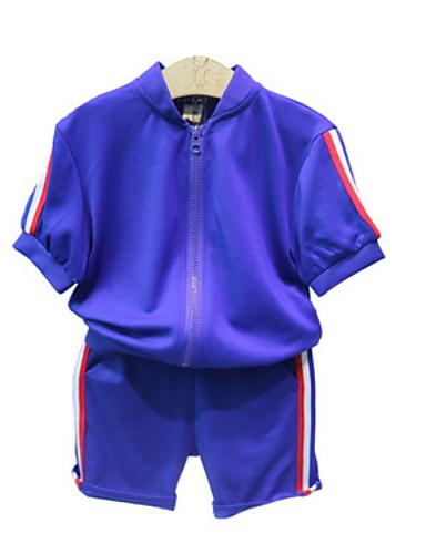 preiswerte Mode für Jungen-Kinder Jungen Grundlegend Solide Kurzarm Kleidungs Set Blau