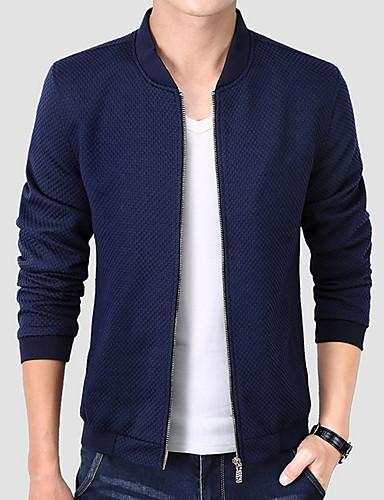 preiswerte Ausverkauf-Herrn Praxis Standard Jacke, Solide Ständer Langarm Polyester Schwarz / Marineblau / Wein