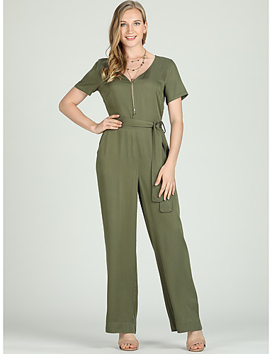 6df9c008cbcd Suzanne Betro Women s Plus Size Daily   Work Basic Deep V Army Green Wide  Leg Slim Jumpsuit