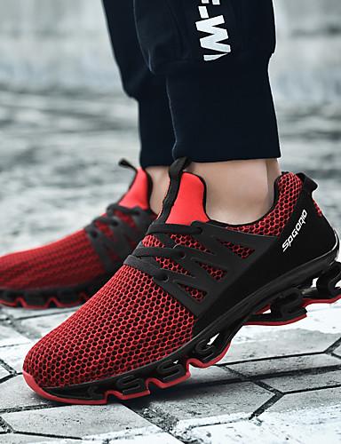 preiswerte Athletische Schuhe für Herren-Herrn Komfort Schuhe PU Sommer Sportschuhe Rennen / Walking Einfarbig Schwarz / Schwarz / Rot / Grau