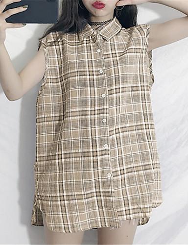 billige Dametopper-Skjortekrage Skjorte Dame - Ruter Grunnleggende Blå