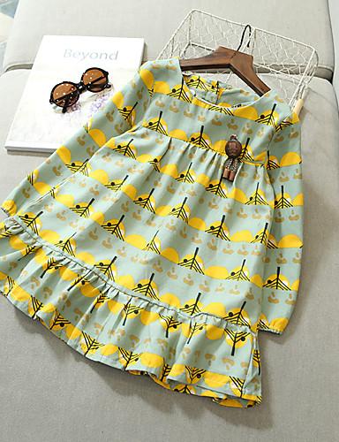 preiswerte Kleider mit Spitze für Mädchen-Kinder Mädchen Aktiv Cartoon Design Langarm Kleid Blau / Baumwolle