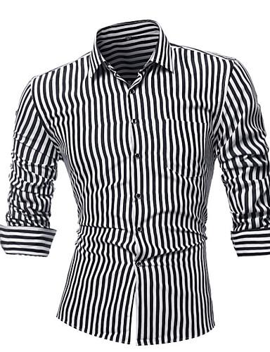 e9b1b0fa2bebb1 Koszula Męskie Biznes Bawełna Praca Prążki / Długi rękaw 6790068 2019 –  $17.99