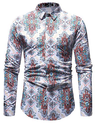 Homens Camisa Social Básico Estampado, Geométrica Branco