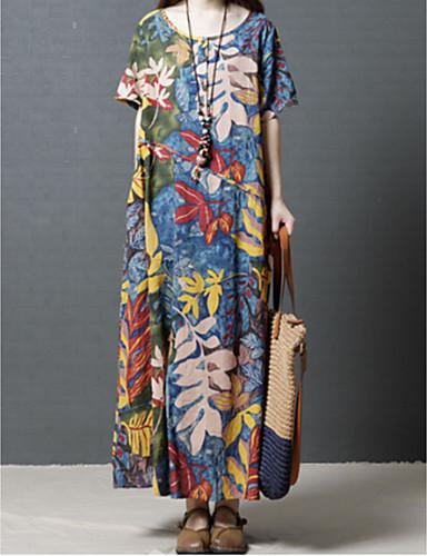 levne Maxi šaty-Dámské Větší velikosti Vintage Sofistikované Bavlna Tričko Šaty - Květinový Geometrický Duhová, Tisk Maxi