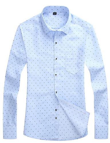preiswerte Formelle Hemden-Herrn Punkt - Geschäftlich Arbeit Hemd, Klassischer Kragen Marineblau / Langarm