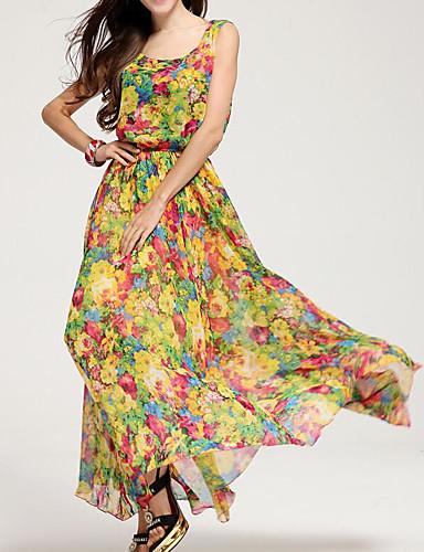 84b5bf553266 Women s Beach Maxi Swing Dress High Waist Strap Yellow L XL XXL  06803020
