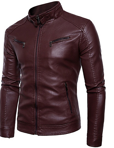 cheap Leather Jackets-Men's Practice Winter Regular Leather Jacket, Solid Colored Round Neck Long Sleeve PU / Polyester Black / Yellow / Wine
