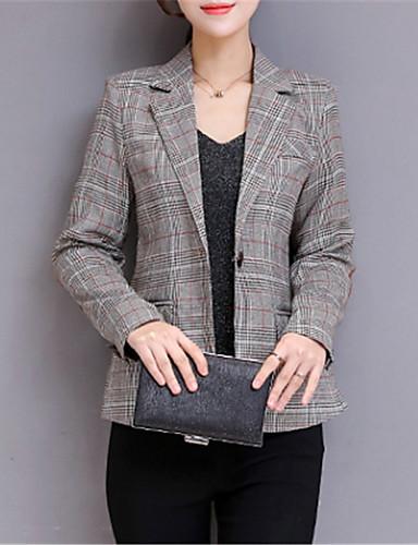 levne Dámské blejzry a bundy-Dámské Denní Základní Standardní Blejzr, Jednobarevné Košilový límec Dlouhý rukáv Polyester Šedá
