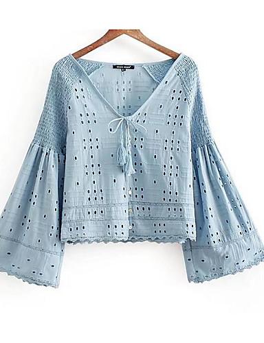 billige Skjorter til damer-Dyp V Skjorte Dame - Ensfarget Blå