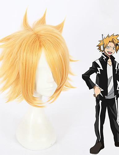 levne Cosplay paruky-Moje hrdina Academia Kaminari Denki Cosplay Paruky Vše 12 inch Horkuvzdorné vlákno Zlatá Anime