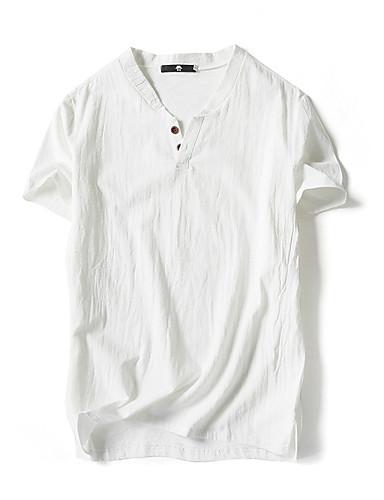 preiswerte Herrenmode-Herrn Solide - Grundlegend Leinen T-shirt, Ständer Weiß / Kurzarm