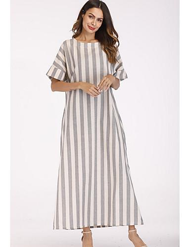 levne Maxi šaty-Dámské Základní Bavlna Volné Tunika Šaty - Proužky, Tisk Maxi Tričkový