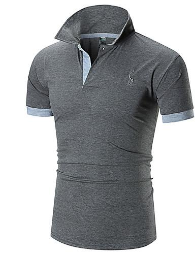 levne Pánské košile-Pánské - Jednobarevné Košile Košilový límec Bílá / Krátký rukáv