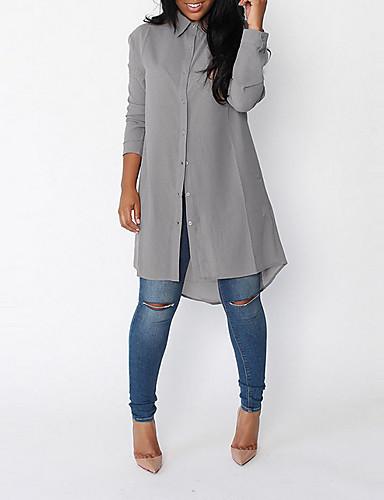 billige Dametopper-Skjortekrage Skjorte Dame - Ensfarget Ut på byen Grå