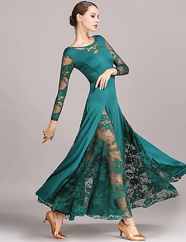preiswerte Tanzkleidung für den Ballsaal-Für den Ballsaal Kleider Damen Leistung Spitze / Milchfieber Spitze Langarm Normal Kleid