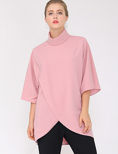 billige T-skjorter til damer-Bomull Rullekrage T-skjorte Dame - Ensfarget Rosa / Sommer