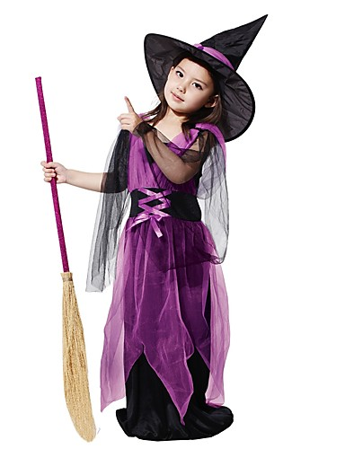 cheap Kids Halloween Costumes-Witch Costume Kid's Girls' Vacation Dress Halloween Halloween Carnival Children's Day Festival / Holiday Polyster Purple Female Easy Carnival Costumes Solid Colored Halloween / Hat / Hat
