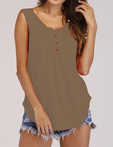 billige Dametopper-Løstsittende U-hals Store størrelser T-skjorte Dame - Ensfarget Grunnleggende Militærgrønn / Sommer