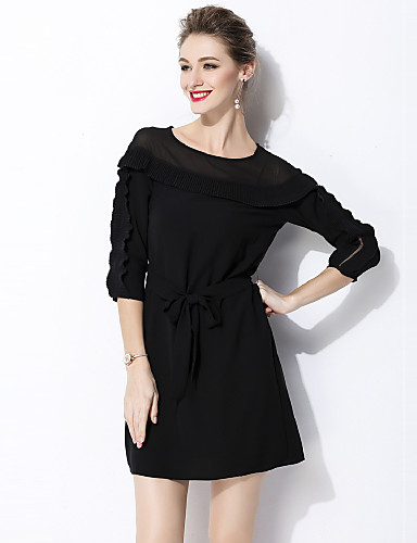 Womens Going Out Work Street Chic Mini Little Black Dress Solid