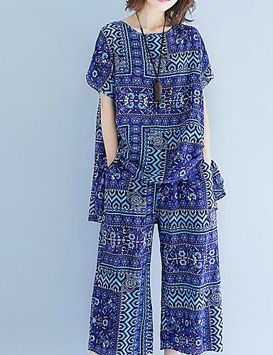 billige Todelt dress til damer-Dame Aktiv Store størrelser Puffermer Bomull Sett Bukse - Flettet, Ensfarget / Geometrisk