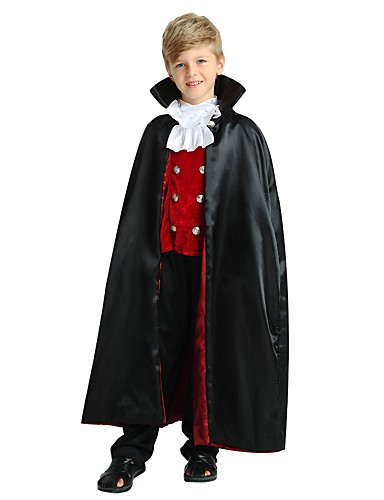 cheap Kids Halloween Costumes-Cosplay Costume Teen Boys' Halloween Halloween Carnival Children's Day Festival / Holiday Polyster Black Easy Carnival Costumes Solid Colored Halloween / Top / Pants / Cloak / Top / Pants