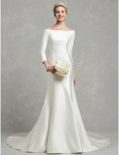 cheap Wedding Dresses Under $200-Meghan Markle Style A-Line Bateau Neck Chapel Train Satin Made-To-Measure Wedding Dresses with Bow(s) / Sash / Ribbon by LAN TING BRIDE®