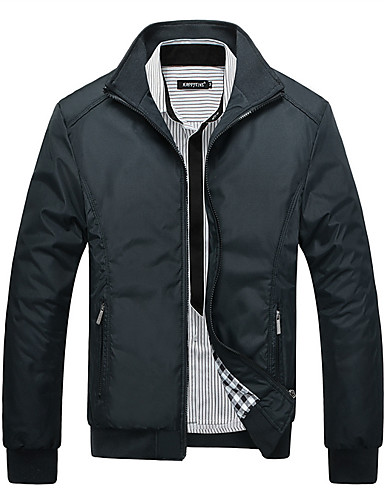preiswerte Herrenjacken-Herrn Sport Winter Standard Jacke, Solide Ständer Langarm Polyester Schwarz / Blau / Grün