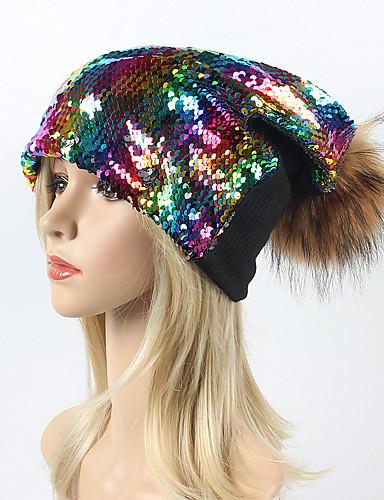 627a768519 Women s Vintage Basic Cotton Knitwear Fauxfur Floppy Hat-Rainbow Sequins  Fall Winter Black Silver Rainbow 6822531 2019 –  15.99