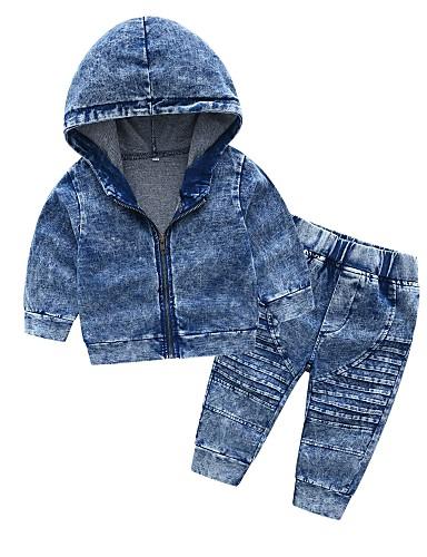 preiswerte Mode für Jungs-Baby Jungen Grundlegend Alltag Solide Langarm Standard Baumwolle Kleidungs Set Blau