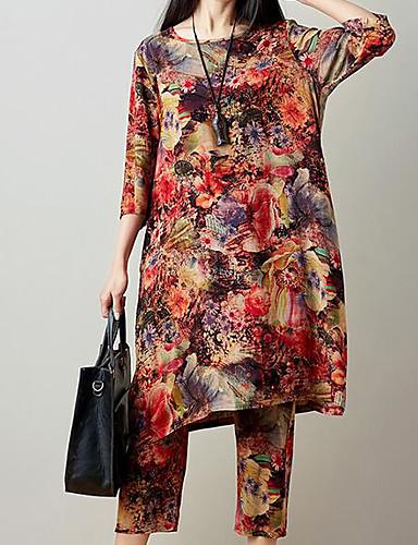 billige Dametopper-Dame Aktiv Store størrelser Bomull Lang Bluse / Sett Bukse - Trykt mønster, Blomstret