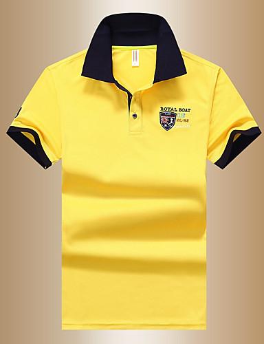 저렴한 남성 폴로-남성용 솔리드 Polo 베이직 일상 셔츠 카라 화이트 / 푸른 / 옐로우 / 여름 / 짧은 소매