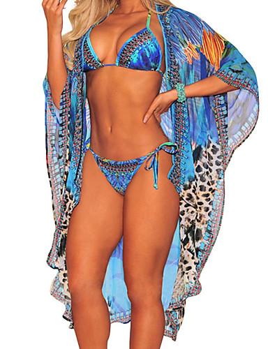 billige Bikinier og damemote-Dame Grunnleggende Bohem Grime Blå Snørebinding Badedrakt (multi) Badetøy - Fargeblokk Blondér M L XL Blå / Sexy